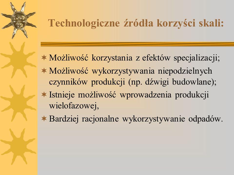 Technologiczne źródła korzyści skali: Możliwość korzystania z efektów specjalizacji; Możliwość wykorzystywania niepodzielnych czynników produkcji (np.
