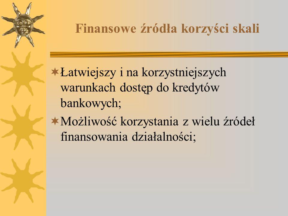 Finansowe źródła korzyści skali Łatwiejszy i na korzystniejszych warunkach dostęp do kredytów bankowych; Możliwość korzystania z wielu źródeł finansow
