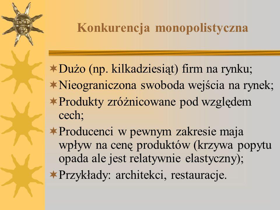 Konkurencja monopolistyczna Dużo (np. kilkadziesiąt) firm na rynku; Nieograniczona swoboda wejścia na rynek; Produkty zróżnicowane pod względem cech;