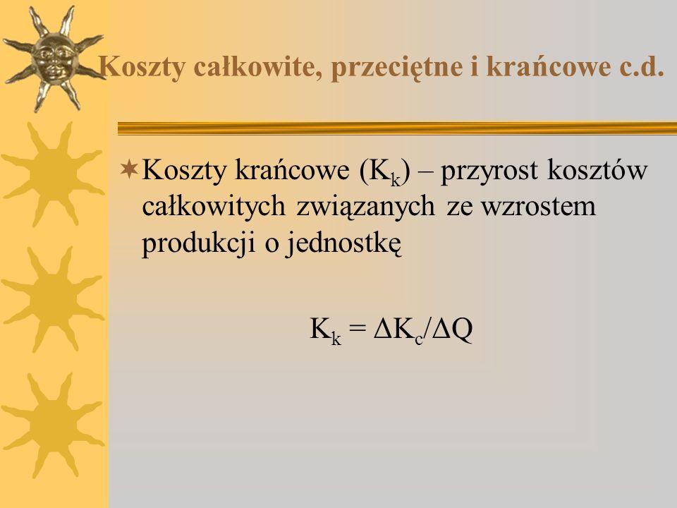 Koszty całkowite, przeciętne i krańcowe c.d. Koszty krańcowe (K k ) – przyrost kosztów całkowitych związanych ze wzrostem produkcji o jednostkę K k =