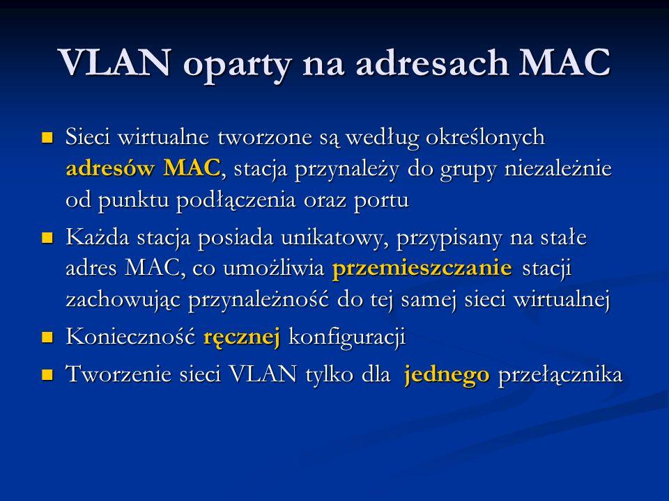 VLAN oparty na adresach MAC Sieci wirtualne tworzone są według określonych adresów MAC, stacja przynależy do grupy niezależnie od punktu podłączenia o