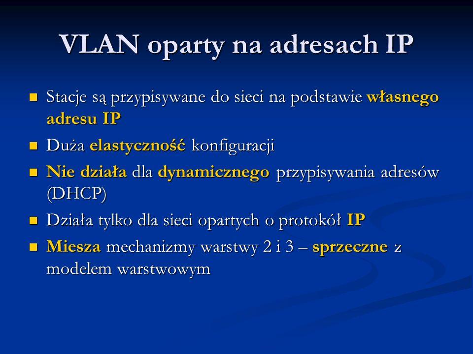 VLAN oparty na adresach IP Stacje są przypisywane do sieci na podstawie własnego adresu IP Stacje są przypisywane do sieci na podstawie własnego adres