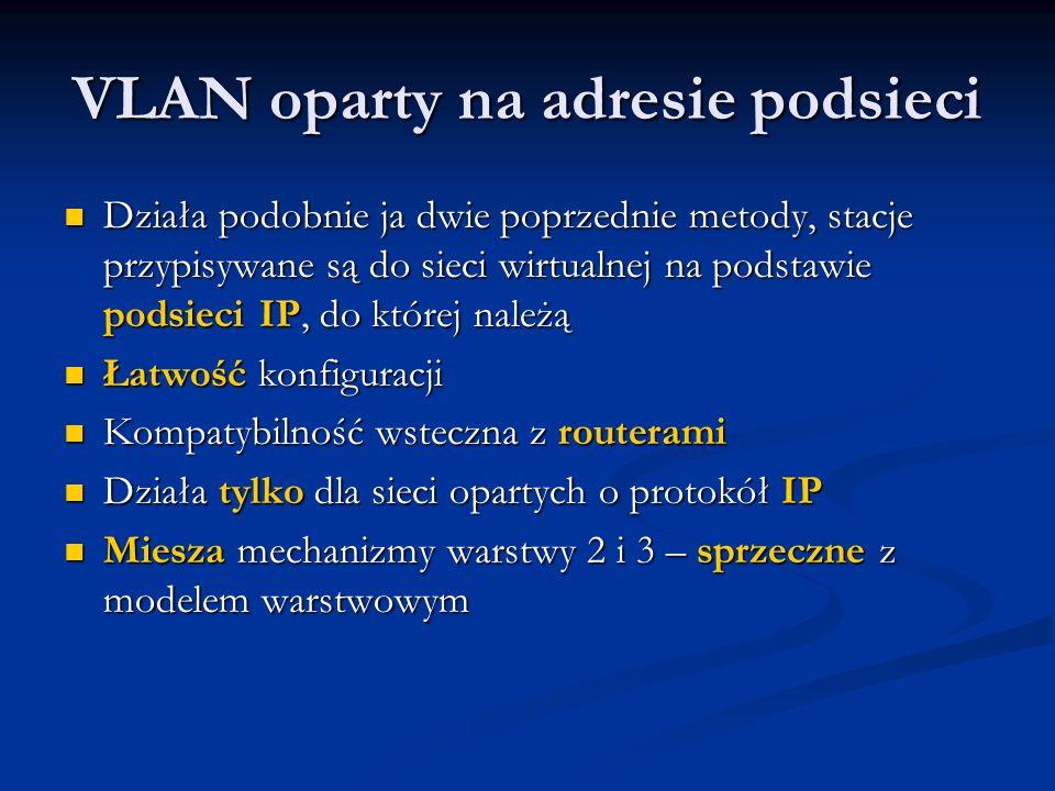 VLAN oparty na adresie podsieci Działa podobnie ja dwie poprzednie metody, stacje przypisywane są do sieci wirtualnej na podstawie podsieci IP, do któ