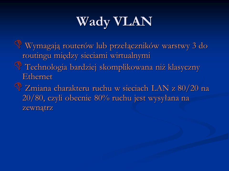 Wady VLAN Wymagają routerów lub przełączników warstwy 3 do routingu między sieciami wirtualnymi Wymagają routerów lub przełączników warstwy 3 do routi