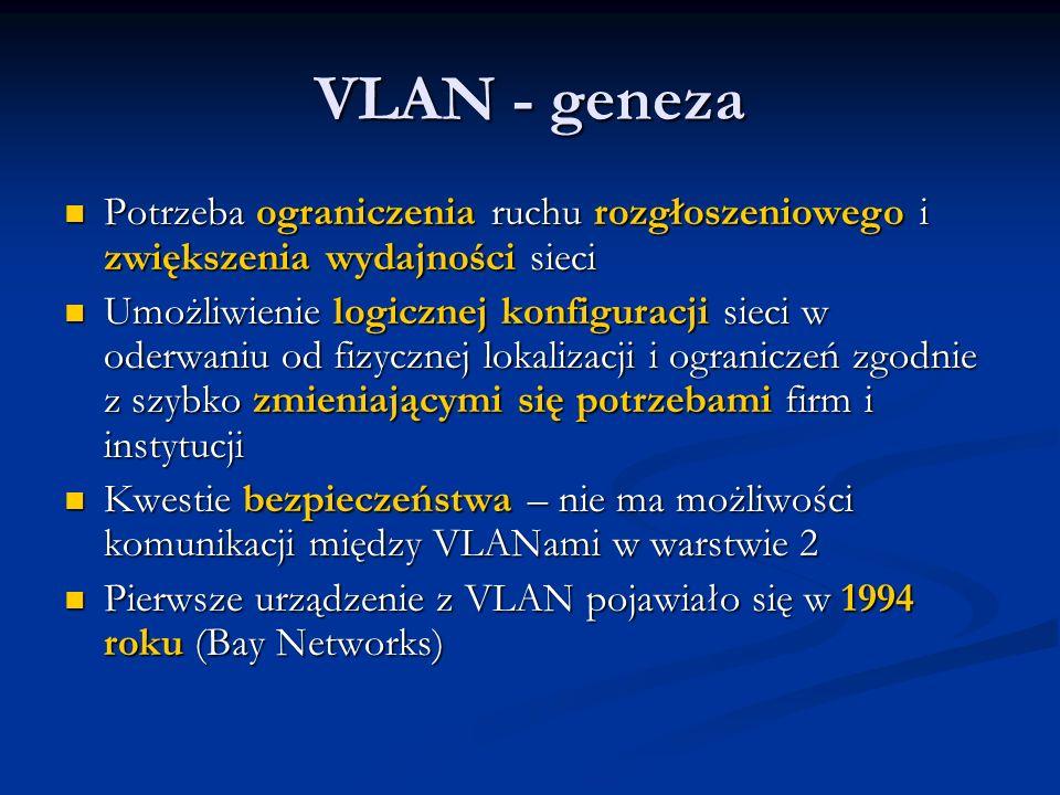 VLAN - geneza Potrzeba ograniczenia ruchu rozgłoszeniowego i zwiększenia wydajności sieci Potrzeba ograniczenia ruchu rozgłoszeniowego i zwiększenia w