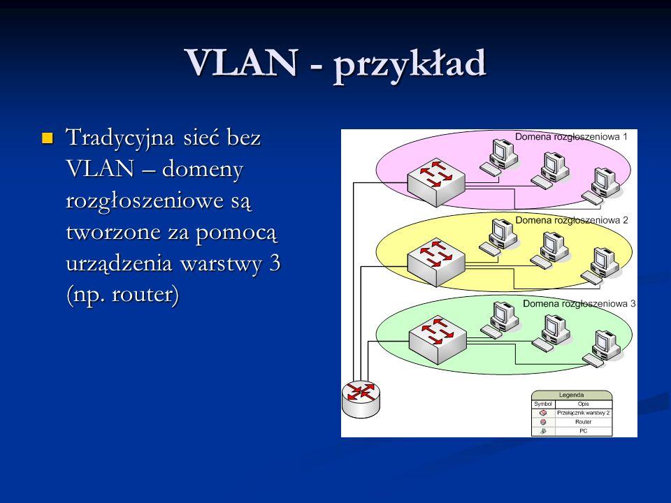 VLAN - przykład Tradycyjna sieć bez VLAN – domeny rozgłoszeniowe są tworzone za pomocą urządzenia warstwy 3 (np. router) Tradycyjna sieć bez VLAN – do