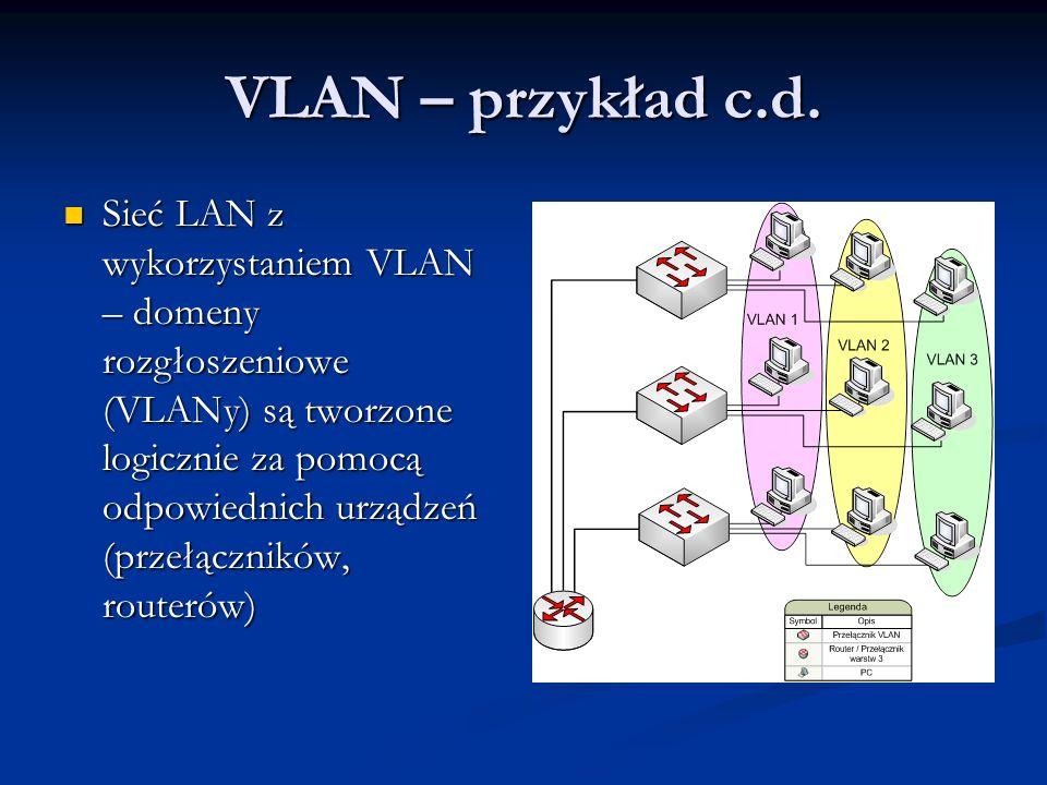 VLAN – przykład c.d. Sieć LAN z wykorzystaniem VLAN – domeny rozgłoszeniowe (VLANy) są tworzone logicznie za pomocą odpowiednich urządzeń (przełącznik