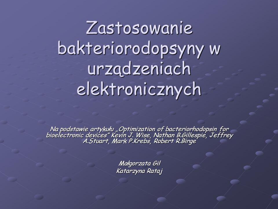 Budowa bakteriorodopsyny Bakteriorodopsyna zbudowana jest z dwóch komponent: Bakteriorodopsyna zbudowana jest z dwóch komponent: 248 aminokwasowego polipeptydu (bakterioopsyna BO) 248 aminokwasowego polipeptydu (bakterioopsyna BO) chromoforu (retinal) osadzonego wewnątrz białka chromoforu (retinal) osadzonego wewnątrz białka