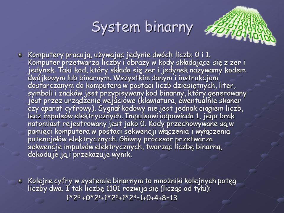 System binarny Komputery pracują, używając jedynie dwóch liczb: 0 i 1. Komputer przetwarza liczby i obrazy w kody składające się z zer i jedynek. Taki