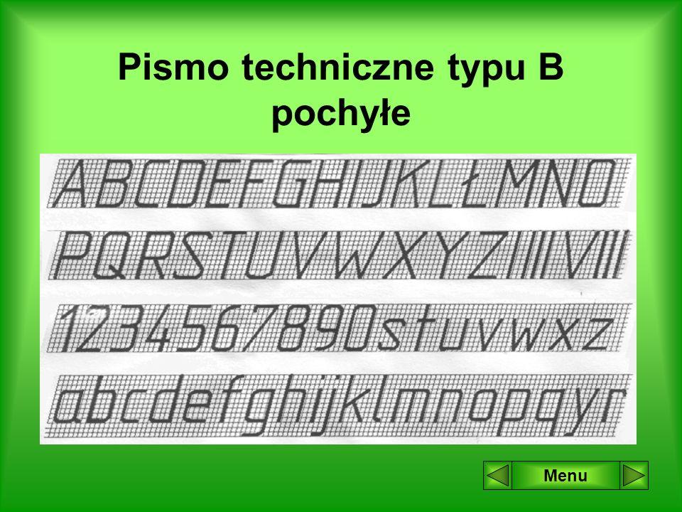 Pismo techniczne typu B proste Menu