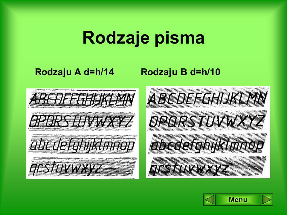 Rodzaje pisma Rodzaju A d=h/14 Rodzaju B d=h/10 Menu