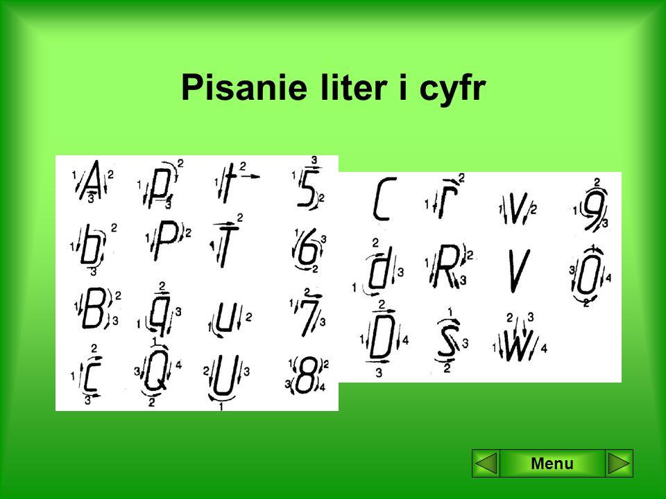 Pisanie liter i cyfr Menu