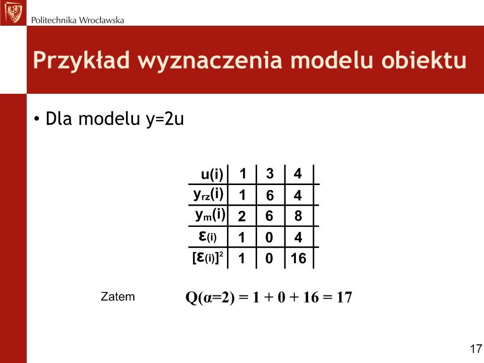 Przykład wyznaczenia modelu obiektu Dla modelu y=2u 17