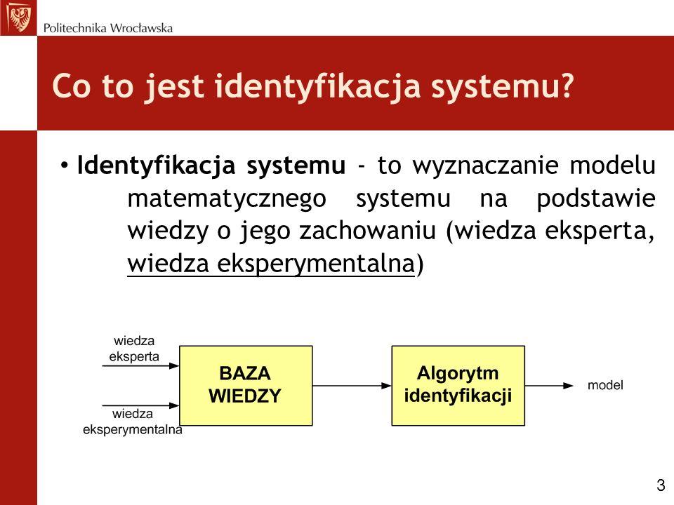 Co to jest identyfikacja systemu? Identyfikacja systemu - to wyznaczanie modelu matematycznego systemu na podstawie wiedzy o jego zachowaniu (wiedza e