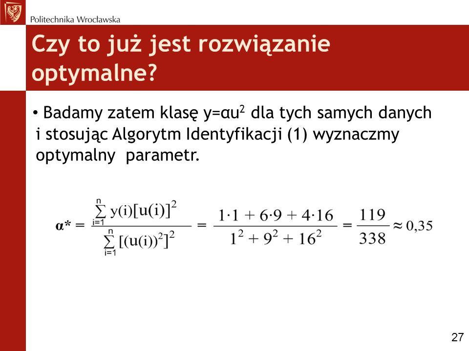 Czy to już jest rozwiązanie optymalne? Badamy zatem klasę y=αu 2 dla tych samych danych i stosując Algorytm Identyfikacji (1) wyznaczmy optymalny para