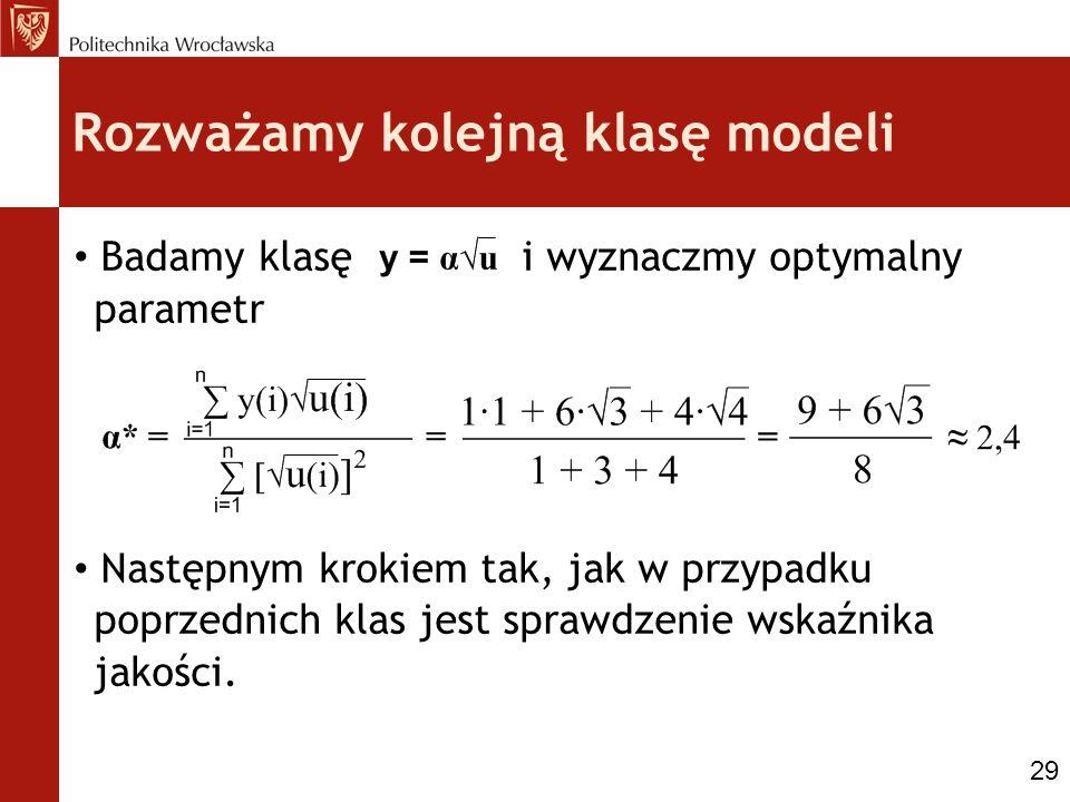 Rozważamy kolejną klasę modeli Badamy klasę i wyznaczmy optymalny parametr Następnym krokiem tak, jak w przypadku poprzednich klas jest sprawdzenie ws