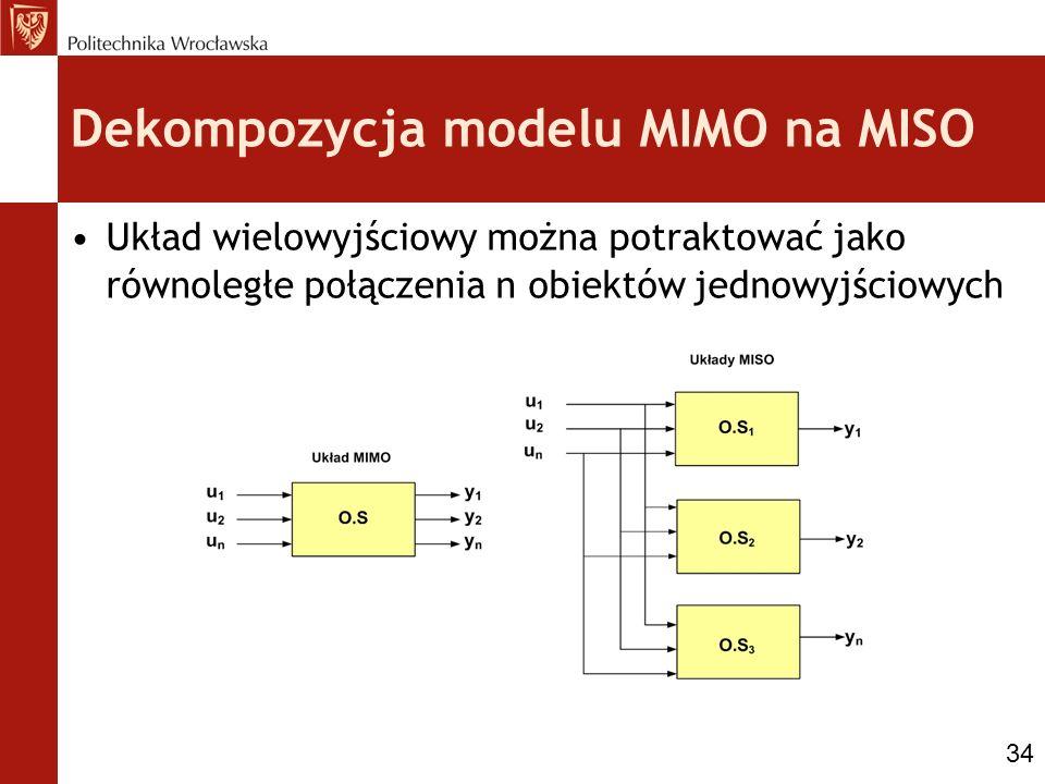 Dekompozycja modelu MIMO na MISO Układ wielowyjściowy można potraktować jako równoległe połączenia n obiektów jednowyjściowych 34