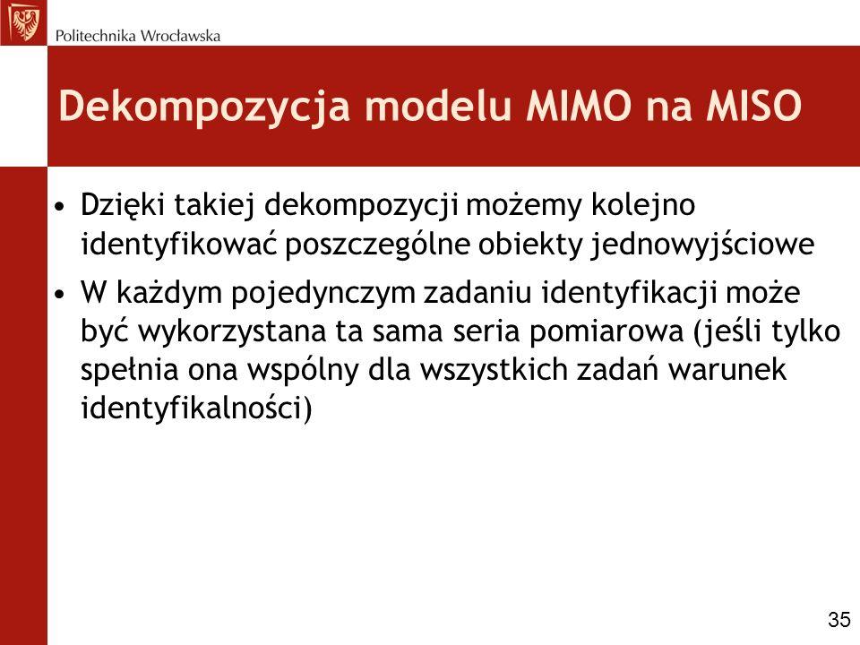 Dekompozycja modelu MIMO na MISO Dzięki takiej dekompozycji możemy kolejno identyfikować poszczególne obiekty jednowyjściowe W każdym pojedynczym zada