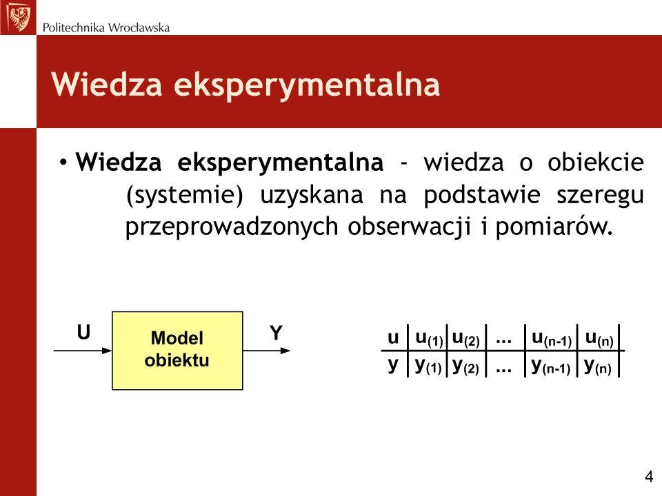 Wiedza eksperymentalna Wiedza eksperymentalna - wiedza o obiekcie (systemie) uzyskana na podstawie szeregu przeprowadzonych obserwacji i pomiarów. 4