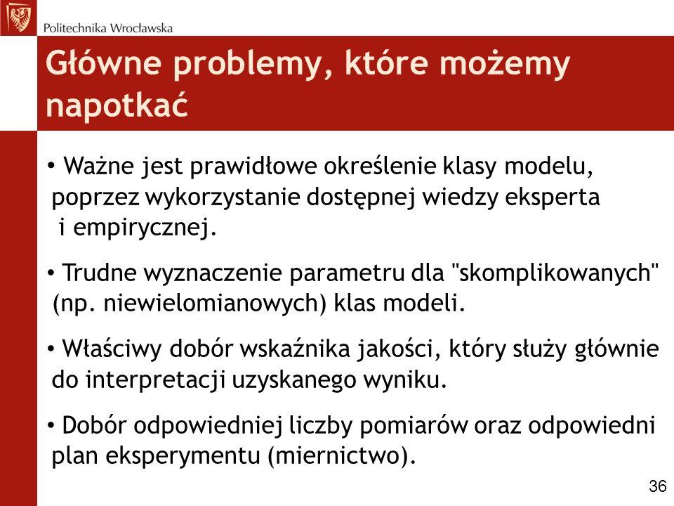 Główne problemy, które możemy napotkać Ważne jest prawidłowe określenie klasy modelu, poprzez wykorzystanie dostępnej wiedzy eksperta i empirycznej. T