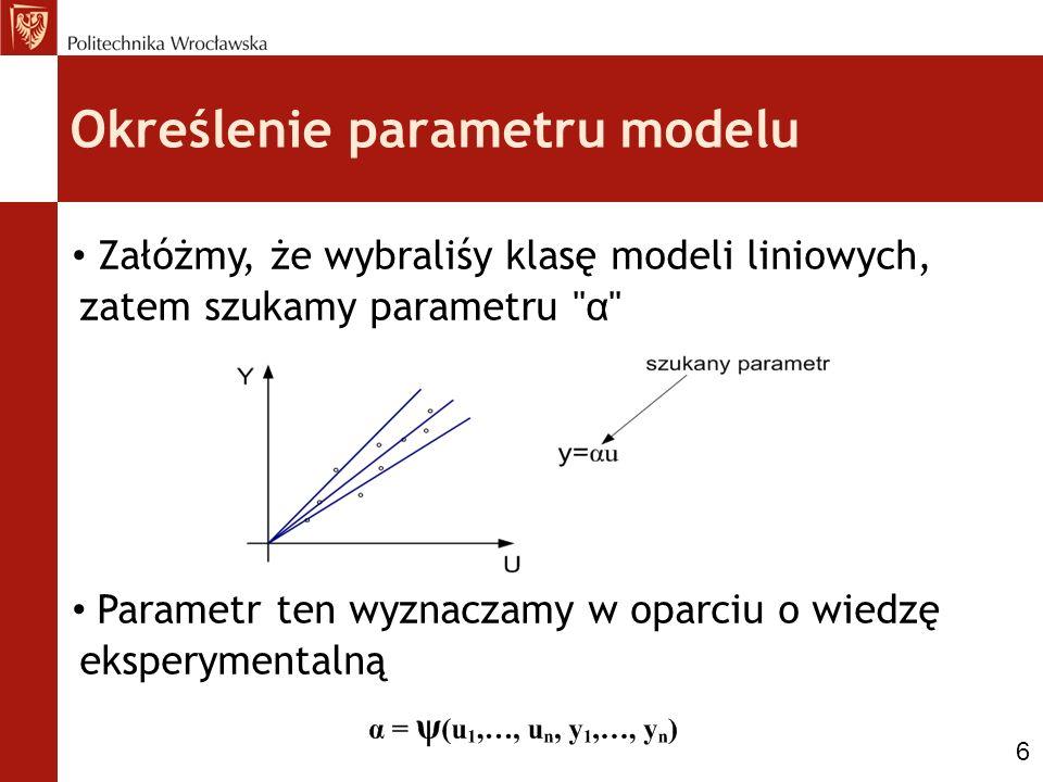 Określenie parametru modelu Załóżmy, że wybraliśy klasę modeli liniowych, zatem szukamy parametru