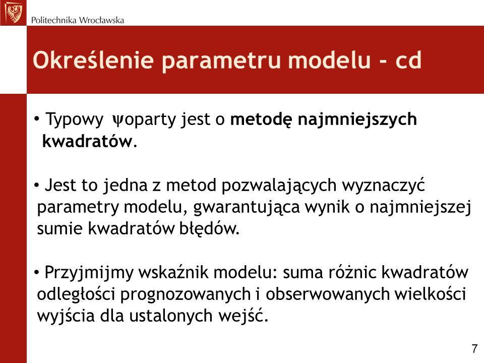 Określenie parametru modelu - cd Typowy oparty jest o metodę najmniejszych kwadratów. Jest to jedna z metod pozwalających wyznaczyć parametry modelu,
