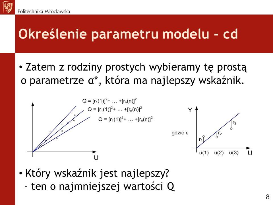 Określenie parametru modelu - cd Zatem z rodziny prostych wybieramy tę prostą o parametrze α*, która ma najlepszy wskaźnik. Który wskaźnik jest najlep