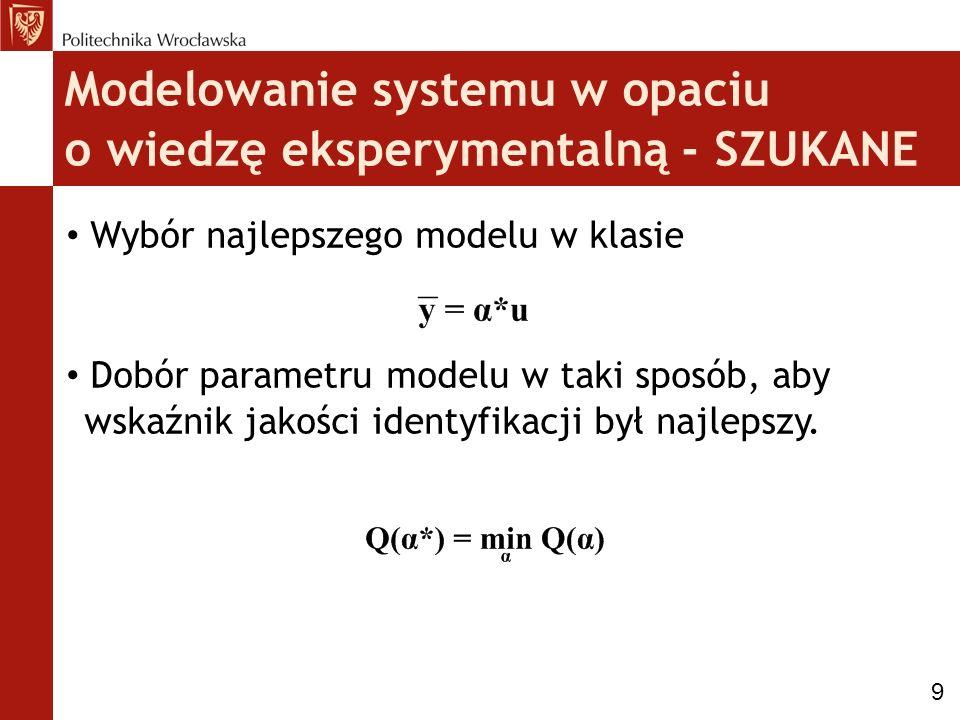 Modelowanie systemu w opaciu o wiedzę eksperymentalną - SZUKANE Wybór najlepszego modelu w klasie Dobór parametru modelu w taki sposób, aby wskaźnik j
