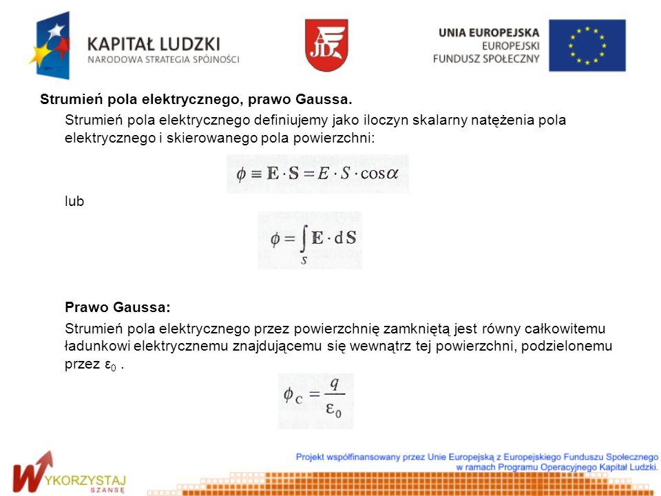 Strumień pola elektrycznego, prawo Gaussa. Strumień pola elektrycznego definiujemy jako iloczyn skalarny natężenia pola elektrycznego i skierowanego p