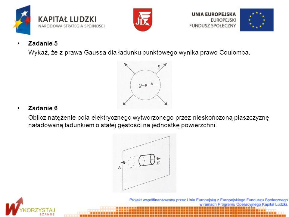 Zadanie 5 Wykaż, że z prawa Gaussa dla ładunku punktowego wynika prawo Coulomba. Zadanie 6 Oblicz natężenie pola elektrycznego wytworzonego przez nies
