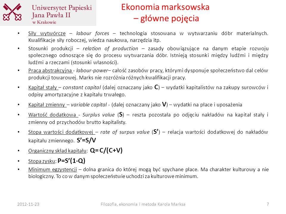 Ekonomia marksowska – główne pojęcia Siły wytwórcze – labour forces – technologia stosowana w wytwarzaniu dóbr materialnych. Kwalifikacje siły robocze
