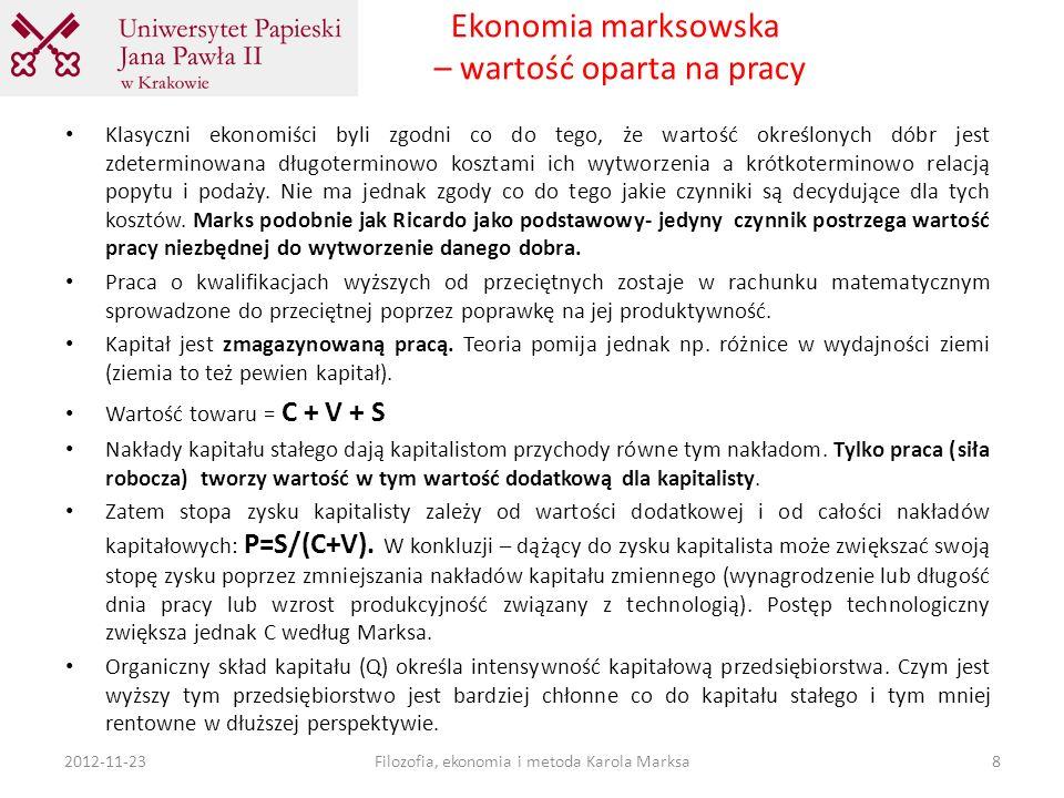 Ekonomia marksowska – wartość oparta na pracy Klasyczni ekonomiści byli zgodni co do tego, że wartość określonych dóbr jest zdeterminowana długotermin