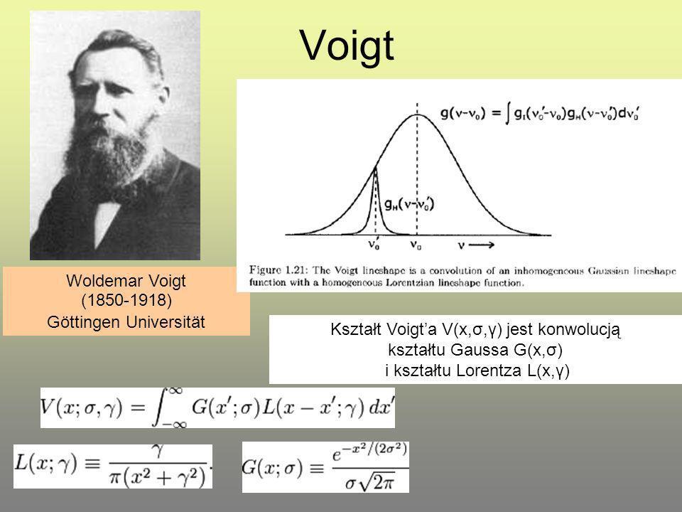 Voigt Woldemar Voigt (1850-1918) Göttingen Universität Kształt Voigta V(x,σ,γ) jest konwolucją kształtu Gaussa G(x,σ) i kształtu Lorentza L(x,γ)