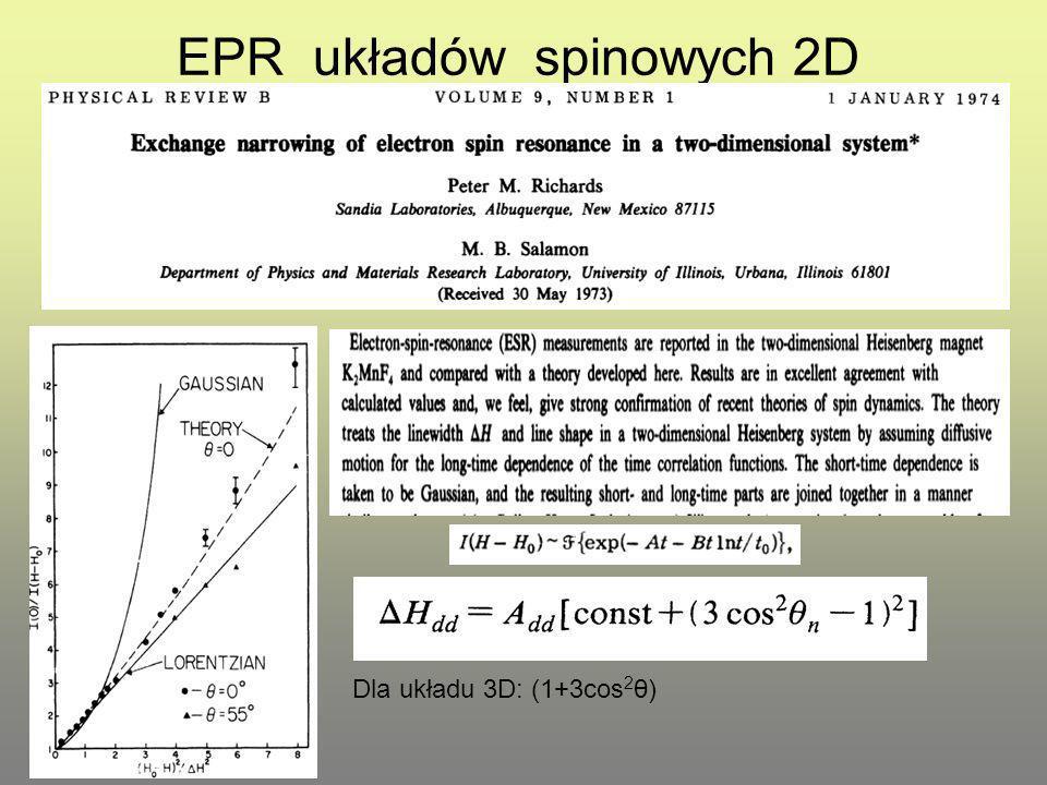 EPR układów spinowych 2D Dla układu 3D: (1+3cos 2 θ)