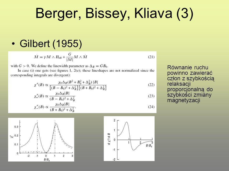 Berger, Bissey, Kliava (4) Landau-Lifshitz (1935) Człon tłumiący zawiera szybkość relaksacji proporcjonalną do składnika precesyjnego M.