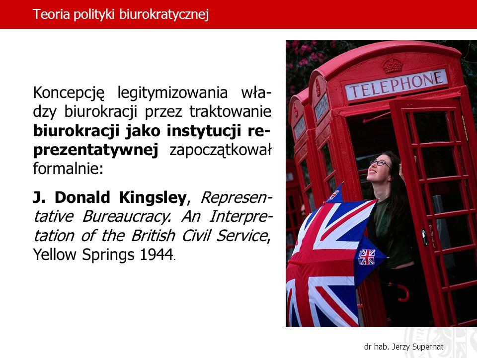Teoria polityki biurokratycznej dr hab. Jerzy Supernat Koncepcję legitymizowania wła- dzy biurokracji przez traktowanie biurokracji jako instytucji re