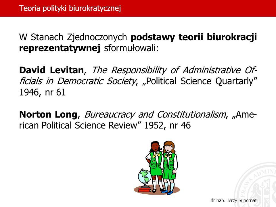 Teoria polityki biurokratycznej dr hab. Jerzy Supernat W Stanach Zjednoczonych podstawy teorii biurokracji reprezentatywnej sformułowali: David Levita