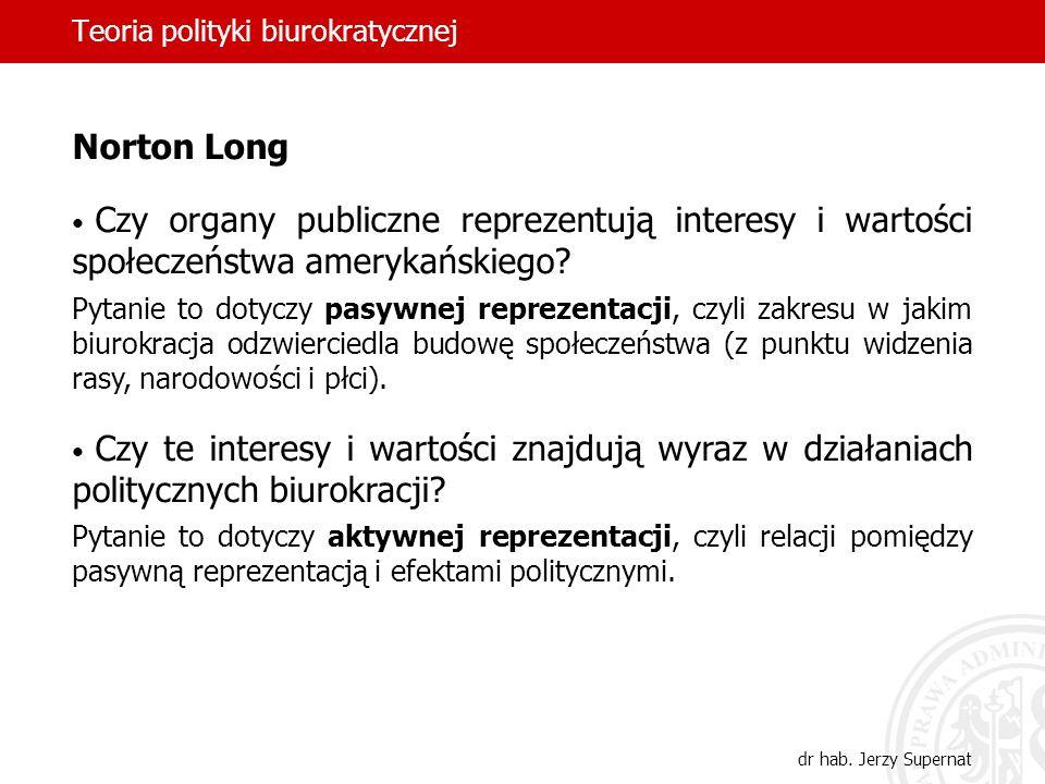 Teoria polityki biurokratycznej dr hab. Jerzy Supernat Norton Long Czy organy publiczne reprezentują interesy i wartości społeczeństwa amerykańskiego?