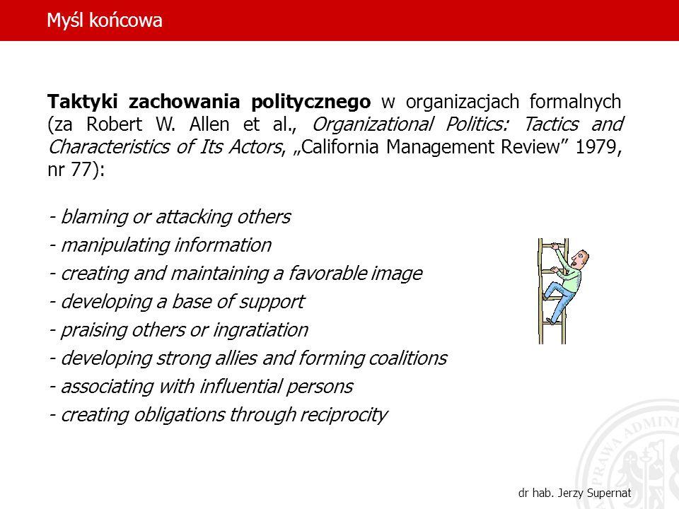 Myśl końcowa dr hab. Jerzy Supernat Taktyki zachowania politycznego w organizacjach formalnych (za Robert W. Allen et al., Organizational Politics: Ta