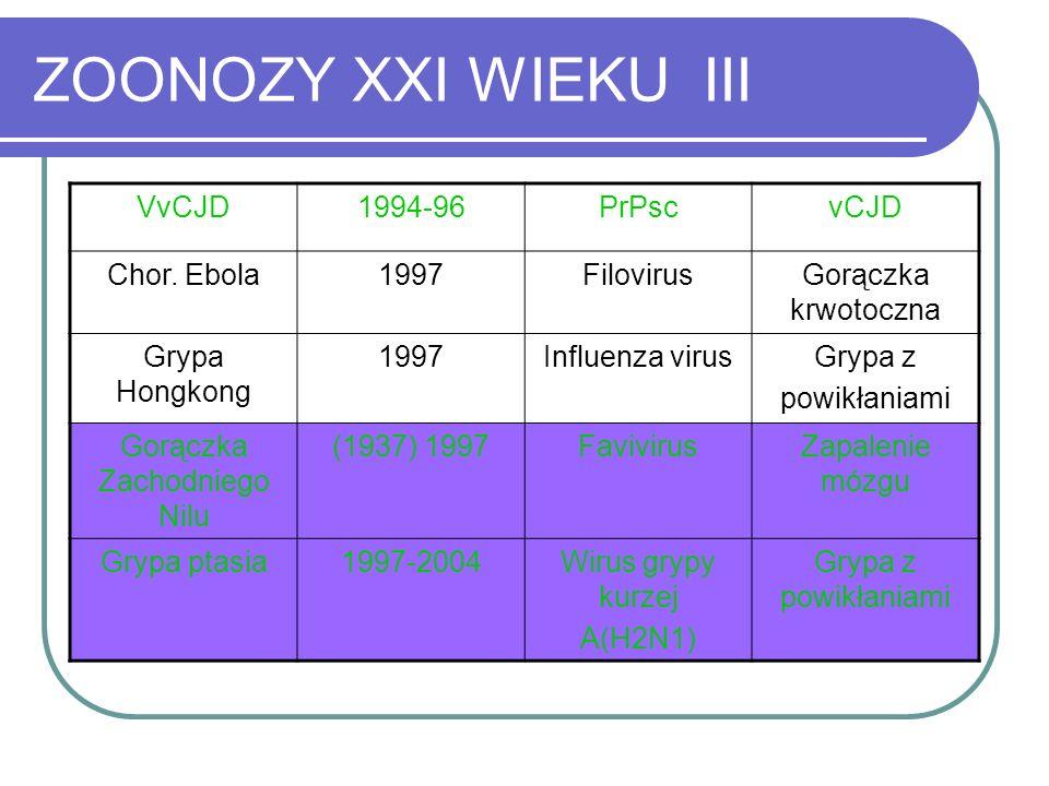 ZOONOZY XXI WIEKU III VvCJD1994-96PrPscvCJD Chor. Ebola1997FilovirusGorączka krwotoczna Grypa Hongkong 1997Influenza virusGrypa z powikłaniami Gorączk