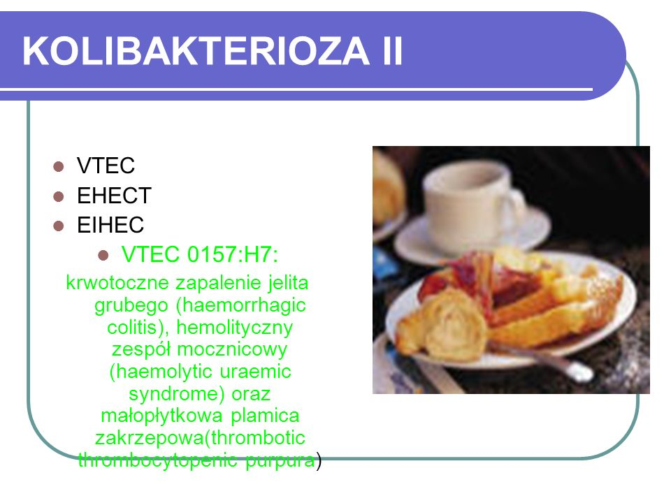 KOLIBAKTERIOZA II VTEC EHECT EIHEC VTEC 0157:H7: krwotoczne zapalenie jelita grubego (haemorrhagic colitis), hemolityczny zespół mocznicowy (haemolyti