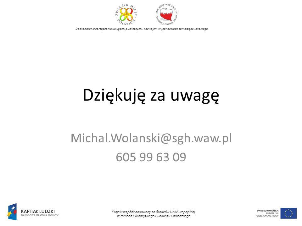 Doskonalenie zarządzania usługami publicznymi i rozwojem w jednostkach samorządu lokalnego Projekt współfinansowany ze środków Unii Europejskiej w ram