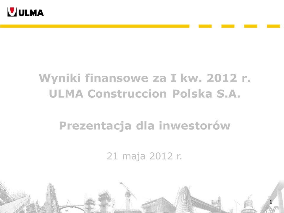 1 Wyniki finansowe za I kw. 2012 r. ULMA Construccion Polska S.A.