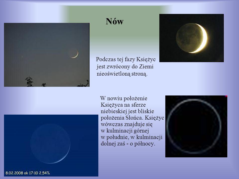Nów W nowiu położenie Księżyca na sferze niebieskiej jest bliskie położenia Słońca. Księżyc wówczas znajduje się w kulminacji górnej w południe, w kul