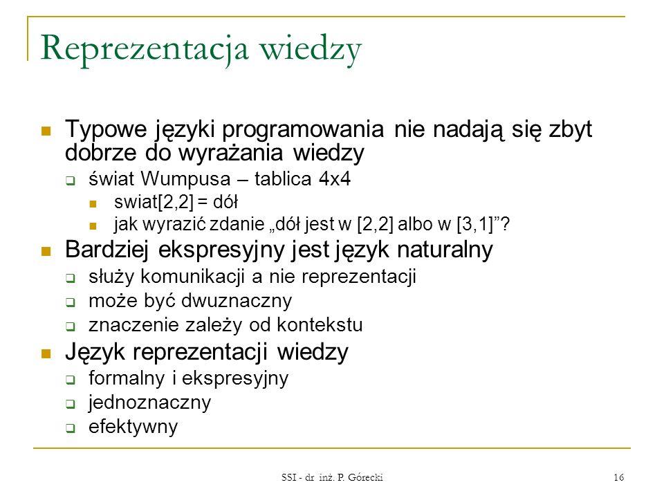 Reprezentacja wiedzy Typowe języki programowania nie nadają się zbyt dobrze do wyrażania wiedzy świat Wumpusa – tablica 4x4 swiat[2,2] = dół jak wyraz