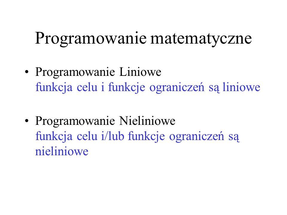 Programowanie matematyczne Programowanie Liniowe funkcja celu i funkcje ograniczeń są liniowe Programowanie Nieliniowe funkcja celu i/lub funkcje ogra