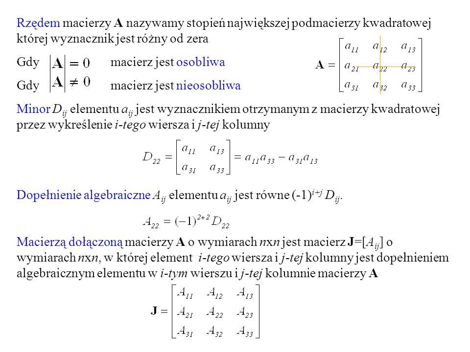 Rzędem macierzy A nazywamy stopień największej podmacierzy kwadratowej której wyznacznik jest różny od zera Gdy macierz jest osobliwa Gdy macierz jest