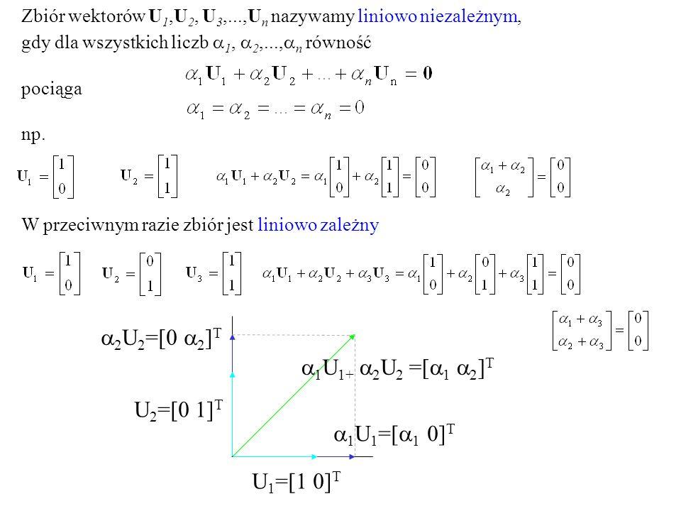Zbiór wektorów U 1,U 2, U 3,...,U n nazywamy liniowo niezależnym, gdy dla wszystkich liczb 1, 2,..., n równość pociąga np. W przeciwnym razie zbiór je