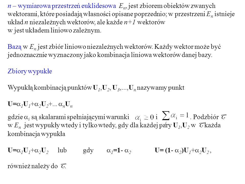 n – wymiarowa przestrzeń euklidesowa E n, jest zbiorem obiektów zwanych wektorami, które posiadają własności opisane poprzednio; w przestrzeni E n ist