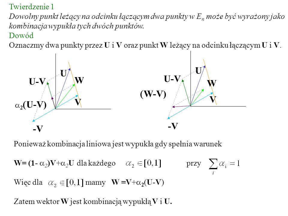 Twierdzenie 1 Dowolny punkt leżący na odcinku łączącym dwa punkty w E n może być wyrażony jako kombinacja wypukła tych dwóch punktów. Dowód Oznaczmy d